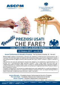 VERCELLI | PREZIOSI USATI CHE FARE? COSA CAMBIA CON LA NUOVA NORMATIVA? @ ASCOM Confcommercio Vercelli | Vercelli | Piemonte | Italia