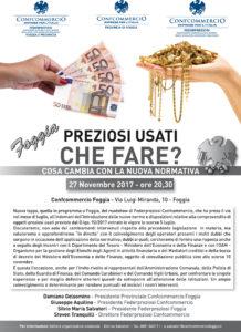 FOGGIA | PREZIOSI USATI, CHE FARE? Cosa cambia con la nuova normativa? @ Confcommercio Foggia | Foggia | Puglia | Italia