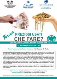 TORINO | PREZIOSI USATI, CHE FARE? Cosa cambia con la nuova normativa? @ Ascom Confcommercio Torino e Provincia | Torino | Piemonte | Italia