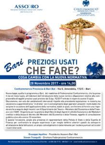 BARI | PREZIOSI USATI, CHE FARE? Cosa cambia con la nuova normativa? @ Confcommercio Provincia di Bari Bat | Bari | Puglia | Italia