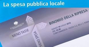 CONVEGNO CONFCOMMERCIO: MENO TASSE, MENO SPESA. BINOMIO DELLA RIPRESA