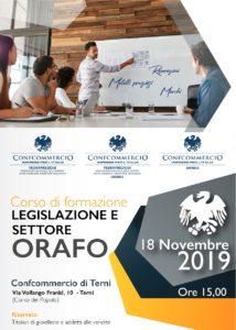 TERNI | CORSO DI FORMAZIONE LEGISLAZIONE E SETTORE ORAFO @ Confcommercio Terni (Corso del Popolo) | Terni | Umbria | Italia